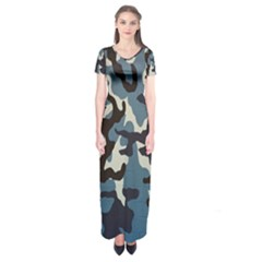 Blue Water Camouflage Short Sleeve Maxi Dress