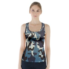 Blue Water Camouflage Racer Back Sports Top
