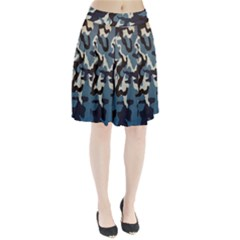 Blue Water Camouflage Pleated Skirt