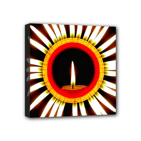 Candle Ring Flower Blossom Bloom Mini Canvas 4  x 4