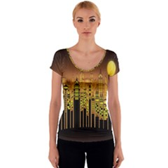 Buildings Skyscrapers City Women s V-Neck Cap Sleeve Top