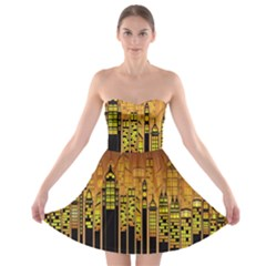 Buildings Skyscrapers City Strapless Bra Top Dress