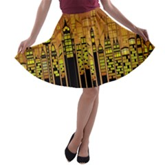 Buildings Skyscrapers City A Line Skater Skirt