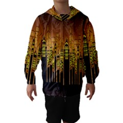 Buildings Skyscrapers City Hooded Wind Breaker (kids)