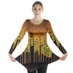 Buildings Skyscrapers City Long Sleeve Tunic