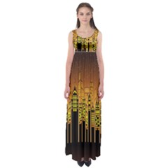Buildings Skyscrapers City Empire Waist Maxi Dress