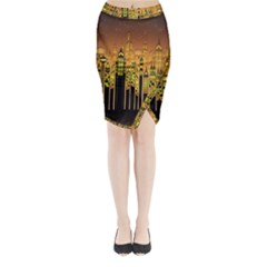 Buildings Skyscrapers City Midi Wrap Pencil Skirt