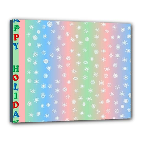 Christmas Happy Holidays Snowflakes Canvas 20  x 16