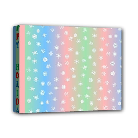Christmas Happy Holidays Snowflakes Deluxe Canvas 14  X 11