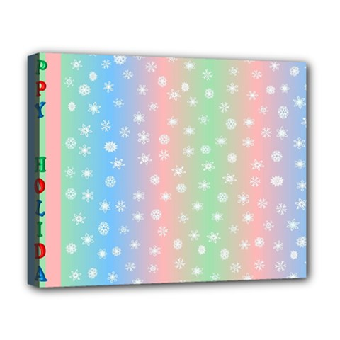 Christmas Happy Holidays Snowflakes Deluxe Canvas 20  x 16