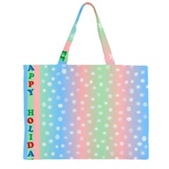 Christmas Happy Holidays Snowflakes Zipper Large Tote Bag