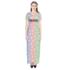 Christmas Happy Holidays Snowflakes Short Sleeve Maxi Dress