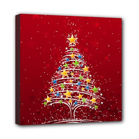 Colorful Christmas Tree Mini Canvas 8  x 8