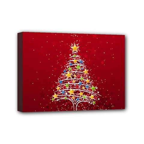 Colorful Christmas Tree Mini Canvas 7  x 5