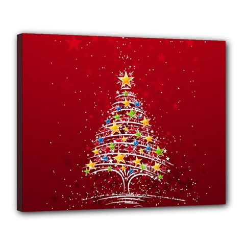 Colorful Christmas Tree Canvas 20  x 16