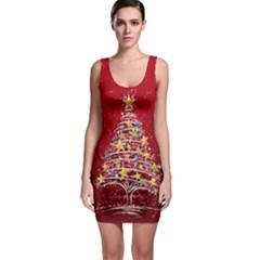 Colorful Christmas Tree Sleeveless Bodycon Dress