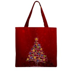 Colorful Christmas Tree Zipper Grocery Tote Bag