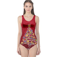 Colorful Christmas Tree One Piece Swimsuit