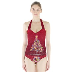 Colorful Christmas Tree Halter Swimsuit