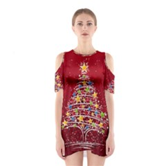 Colorful Christmas Tree Shoulder Cutout One Piece