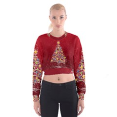 Colorful Christmas Tree Women s Cropped Sweatshirt