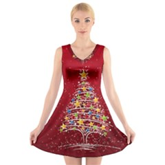 Colorful Christmas Tree V Neck Sleeveless Skater Dress