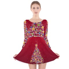 Colorful Christmas Tree Long Sleeve Velvet Skater Dress