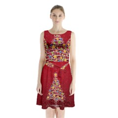 Colorful Christmas Tree Sleeveless Chiffon Waist Tie Dress