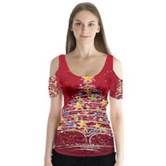 Colorful Christmas Tree Butterfly Sleeve Cutout Tee