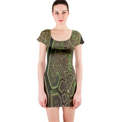 Fractal Complexity 3d Dimensional Short Sleeve Bodycon Dress