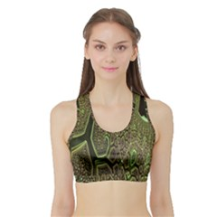 Fractal Complexity 3d Dimensional Sports Bra with Border
