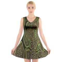 Fractal Complexity 3d Dimensional V Neck Sleeveless Skater Dress
