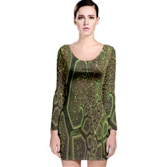 Fractal Complexity 3d Dimensional Long Sleeve Velvet Bodycon Dress