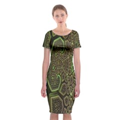 Fractal Complexity 3d Dimensional Classic Short Sleeve Midi Dress