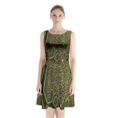 Fractal Complexity 3d Dimensional Sleeveless Chiffon Waist Tie Dress