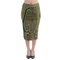 Fractal Complexity 3d Dimensional Midi Pencil Skirt