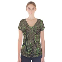 Fractal Complexity 3d Dimensional Short Sleeve Front Detail Top