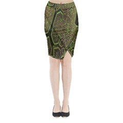 Fractal Complexity 3d Dimensional Midi Wrap Pencil Skirt