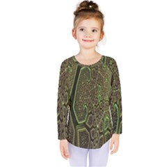 Fractal Complexity 3d Dimensional Kids  Long Sleeve Tee