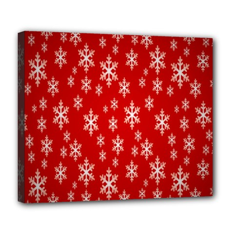 Christmas Snow Flake Pattern Deluxe Canvas 24  x 20