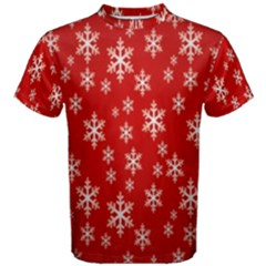 Christmas Snow Flake Pattern Men s Cotton Tee