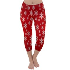 Christmas Snow Flake Pattern Capri Winter Leggings