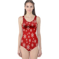 Christmas Snow Flake Pattern One Piece Swimsuit