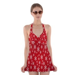 Christmas Snow Flake Pattern Halter Swimsuit Dress