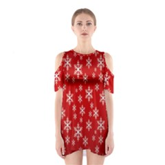 Christmas Snow Flake Pattern Shoulder Cutout One Piece