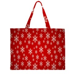 Christmas Snow Flake Pattern Zipper Large Tote Bag