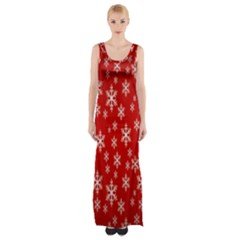 Christmas Snow Flake Pattern Maxi Thigh Split Dress