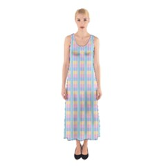 Grid Squares Texture Pattern Sleeveless Maxi Dress
