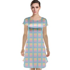Grid Squares Texture Pattern Cap Sleeve Nightdress