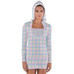 Grid Squares Texture Pattern Women s Long Sleeve Hooded T-shirt